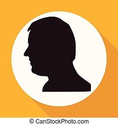 cabeça, sombra, engrenagem, longo, círculo, branca, ícone