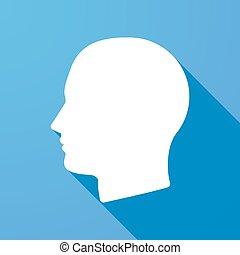 cabeça, sombra, longo, ícone