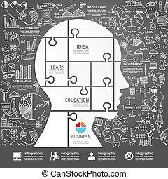 cabeça, strat, sucesso, jigsaw, infographic, doodles, forre desenho