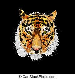 cabeça tigre, feito, esguichos, coloridos