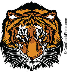 cabeça tigre, gráfico, mascote