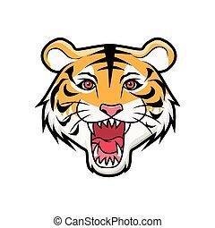 cabeça tigre, rugindo