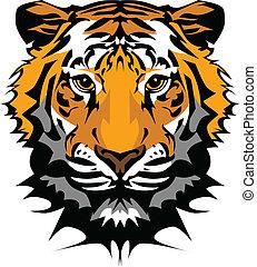 cabeça tigre, vetorial, gráfico, mascote