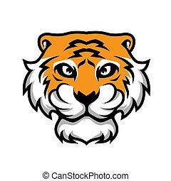 cabeça tigre, vetorial, ilustração