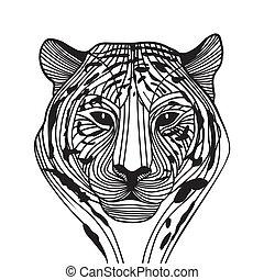 cabeça tigre, vetorial, silueta