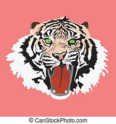 cabeça tigre, vetorial