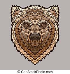 cabeça, urso, estilo, mosaico