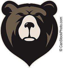 cabeça, urso, mascote