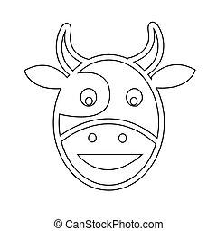 cabeça, vaca, ícone