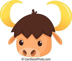 cabeça, vetorial, búfalo, caricatura, ilustração