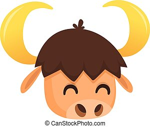 cabeça, vetorial, bisonte, caricatura, ilustração