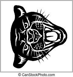 cabeça, -, vetorial, branca, ilustração, pantera, isolado