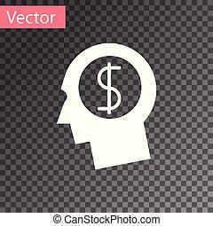 cabeça, vetorial, ganhar, negócio, dólar, concept., dinheiro., idéia, símbolo., isolado, experiência., transparente, planificação, crescimento, ilustração, human, branca, homem, investimento, mente, ícone