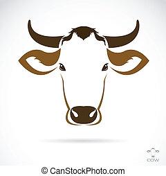 cabeça, vetorial, imagem, vaca