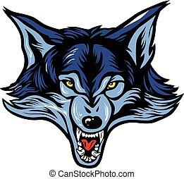 cabeça, vetorial, lobo, mascote