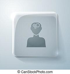 cabeça, vidro, engrenagens, icon., pensa, homem