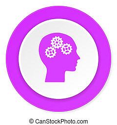 cabeça, violeta, cor-de-rosa, círculo, 3d, modernos, apartamento, desenho, ícone, branco, fundo