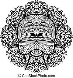 cabeça, walrus., padrão, nacional, elemento, étnico, design., seu, circular