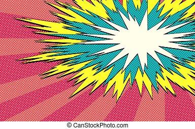 cabeçalho, funky, cômico, vapor, teia, jogo, experiência., vetorial, ilustração, engraçado, bolha, explosão, bandeira, -, pop-art