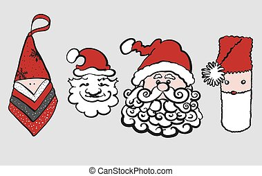 cabeças, claus, quatro, vário, santa, sketched