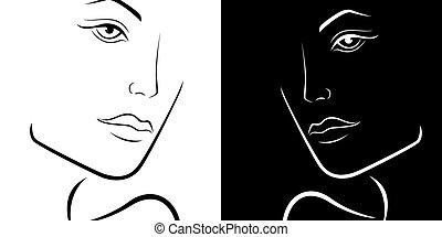 cabeças, esboço, laconic, fêmea preta, branca