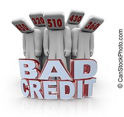 cabeças, pessoas, deprimido, -, número, crédito, mau, ...