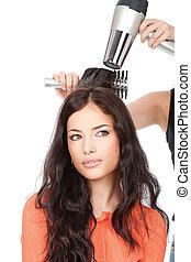 cabeleireiras, é, dreno, um, longo, cabelo preto
