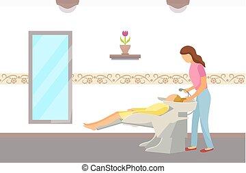 cabeleireiras, cabelo, lavagem, feito, salão, hairdressing