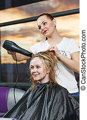 cabeleireiras, no trabalho