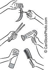 cabeleireiras, salon., beleza, mãos