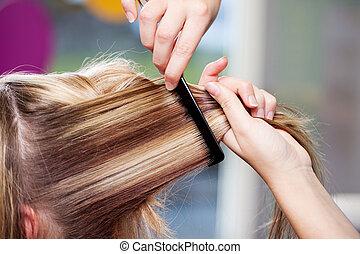 cabeleireiros, femininas, cliente