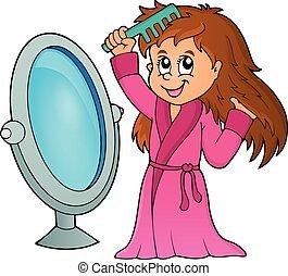 cabelo, 1, menina, tema, combing