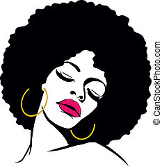 cabelo afro, hippie, mulher, arte pnf