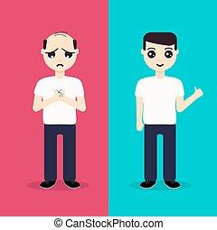 cabelo, antes de, após, regeneração, homem
