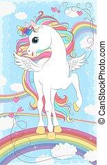 cabelo, arco íris, unicórnio, asas, branca