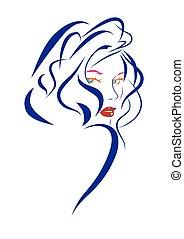 cabelo azul, mulher