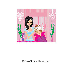 cabelo, barbeiro, cliente, lavando, dela