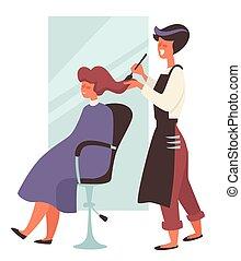 cabelo, beleza, cabeleireiras, cadeira, femininas, tintura, salão, cliente