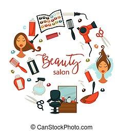 cabelo, beleza, ou, mulher, cabeleireiras, salão, cartaz,...