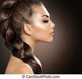 cabelo, braid., mulher bonita, com, saudável, cabelo longo