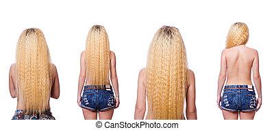 cabelo, branca, mulher, longo