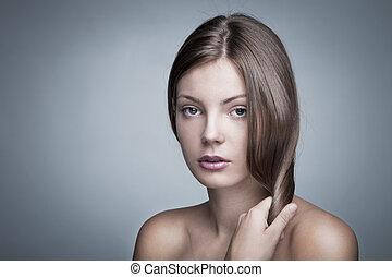cabelo, brilhante