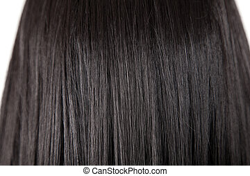 cabelo, brilhante, direito, pretas, textura