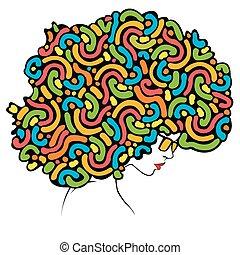cabelo, -, coloridos, ilustração