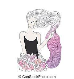 cabelo cor-de-rosa, menina, ondulado, longo