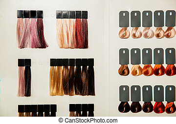 cabelo, cores, paleta, dye., diferente
