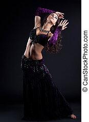 cabelo, dançarino, oriental, bonito, longo