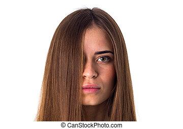 cabelo, direito, mulher, longo