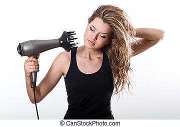 cabelo, dries, hairdryer, menina, longo