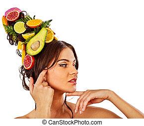 cabelo, e, máscara facial, de, frutas frescas, para, mulher, concept.